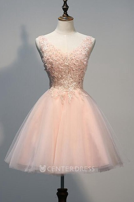fa6bd3575b9 Lovely Short Tulle Homecoming Dresses With Appliques Beads - UCenter Dress