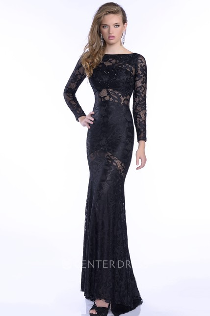 Long Sleeve Trumpet Lace Prom Dress With Rhinestones - UCenter Dress