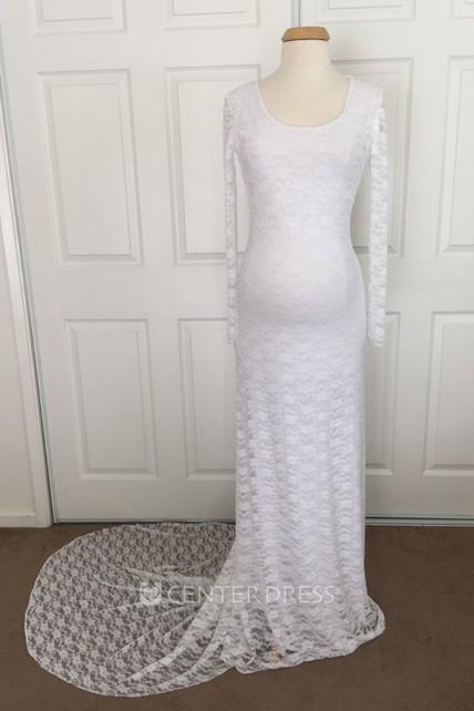 2d7b442544deb8 Sheath Lace Scoop Long Sleeve Lace Maternity Wedding Dress - UCenter Dress
