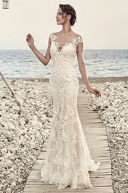 a3009be7 Sheath Cap-Sleeve V-Neck Floor-Length Lace Wedding Dress With Appliques And  Illusion - UCenter Dress