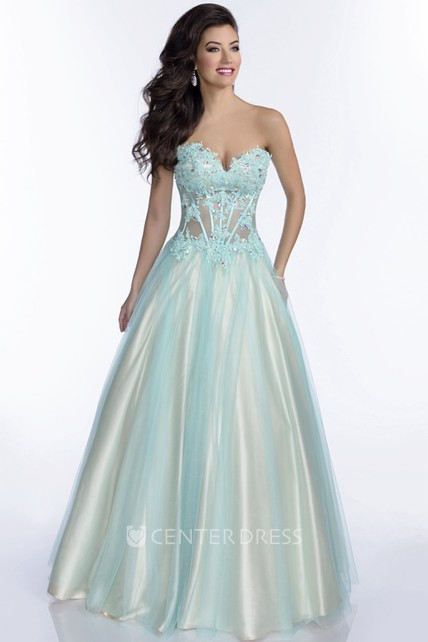 Sweetheart Tulle A-Line Gown With Lace Appliques And Lace-Up Back