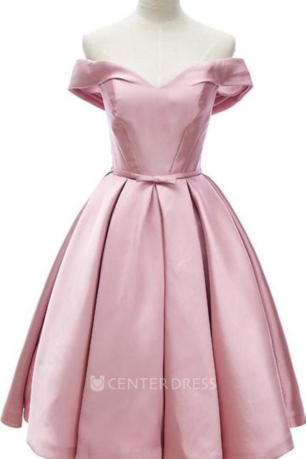 a98cf806a369f Elegant Off The Shoulder Knee Length Satin Dress