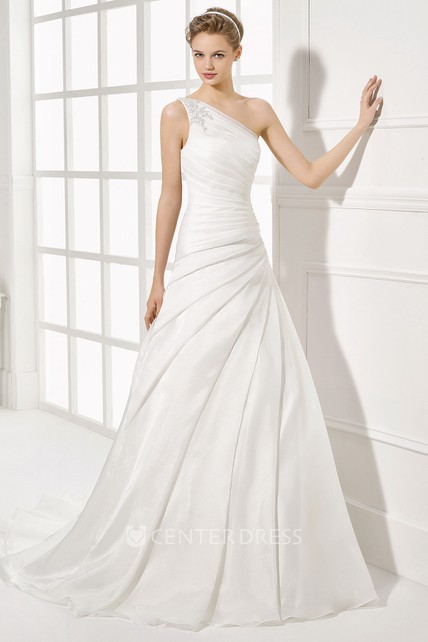 One Shoulder Long Side D Chiffon Wedding Dress With Court Train And V Back