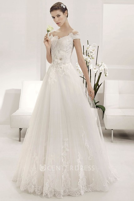 85aff4fc33ae Scalloped Off Shoulder A-line Tulle Gown With Lace Top And Flower - UCenter  Dress