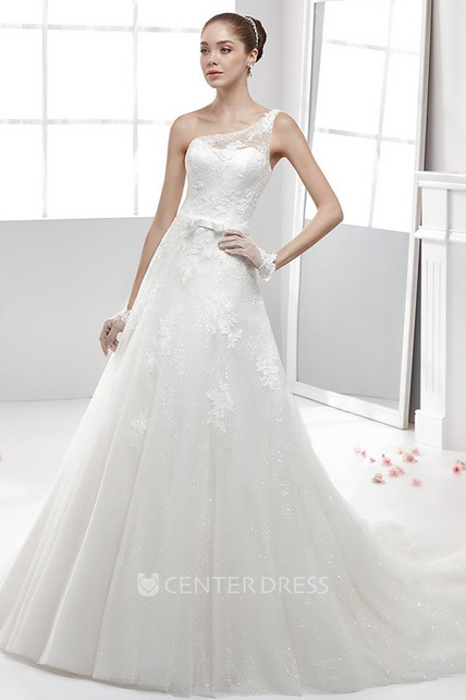 19910d5dbdb One-Strap Lace Wedding Dress With Appliques and Illusive Strap - UCenter  Dress