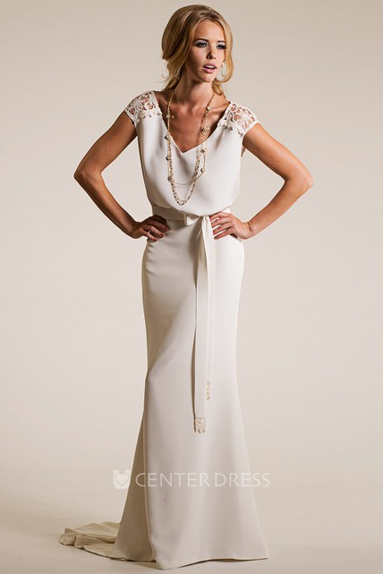 V-Neck Floor-Length Lace Cap-Sleeve Chiffon Wedding Dress With Brush ...