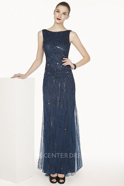 7f1ecbe020a4d Bateau Tulle Long Prom Dress With Sequins And Cowl Open Back - UCenter Dress