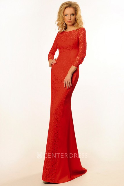 Sheath Jewel-Neck Long-Sleeve Floor-Length Lace Prom Dress