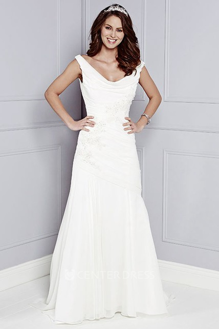 367f77f59e4 A-Line Cowl-Neck Maxi Appliqued Sleeveless Wedding Dress With Ruching - UCenter  Dress