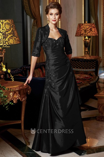 Sweetheart Long Mother Of The Bride Dress With Sequins And Half-Sleeved Jacket