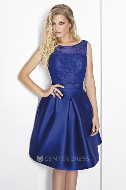 74c9623ad0a Short A-Line Scoop Neck Sleeveless Beaded Satin Prom Dress - UCenter Dress