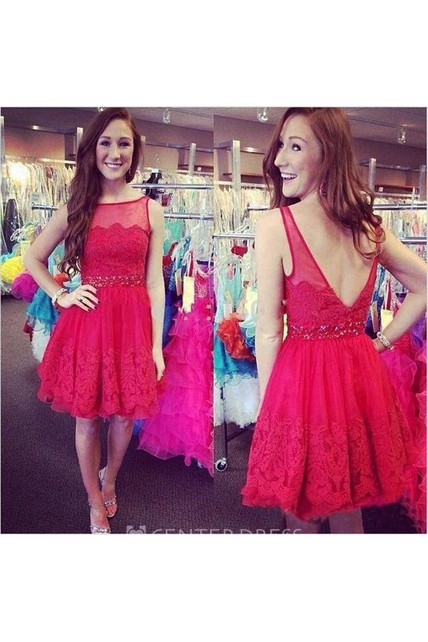 8e6cfbdb414 Sexy Open Back Lace Short Dress With Beading - UCenter Dress
