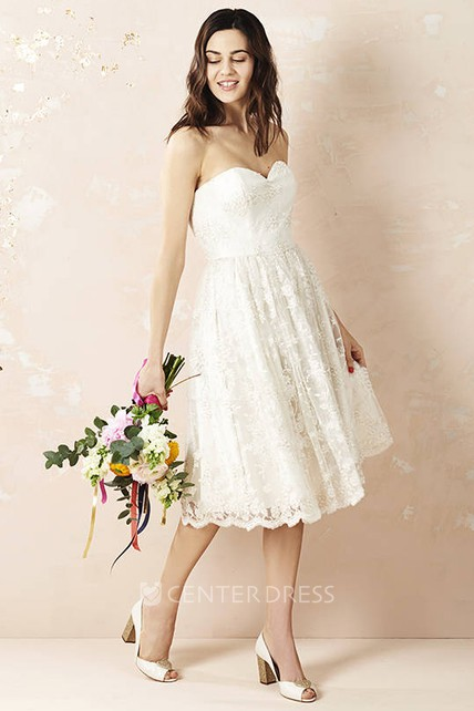 Tea-Length Sweetheart Sleeveless Appliqued Lace Wedding Dress