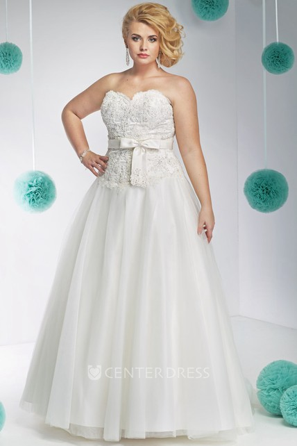 A Line Sleeveless Appliqued Sweetheart Floor Length Lacetulle Plus
