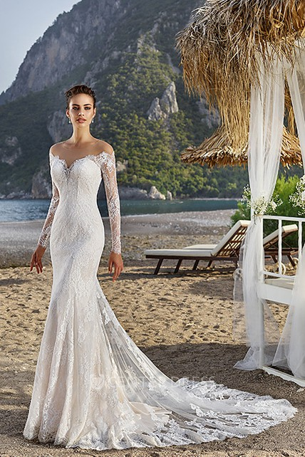d4c9ed3e990 Sheath Off-The-Shoulder Long-Sleeve Lace Wedding Dress With Illusion -  UCenter Dress