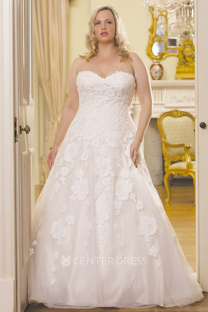 3b3c10fe149 Ball Gown Floor-Length Sweetheart Lace Plus Size Wedding Dress With  Appliques And V Back - UCenter Dress