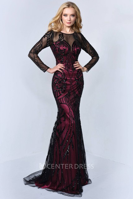 eacbab0d386 Mermaid Maxi Scoop-Neck Long Sleeve Tulle Satin Illusion Dress With Sequins  - UCenter Dress