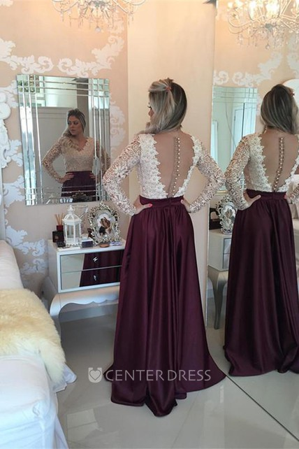 98a2a97d0740 Stunning Long Sleeve Lace Pearls Prom Dresses 2018 Long Party Gowns - UCenter  Dress