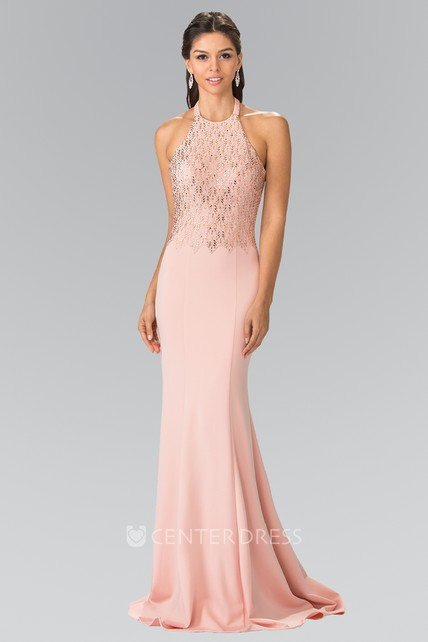 ec68f71c7a1 Sheath Long Scoop-Neck Sleeveless Jersey Backless Dress With Sequins -  UCenter Dress