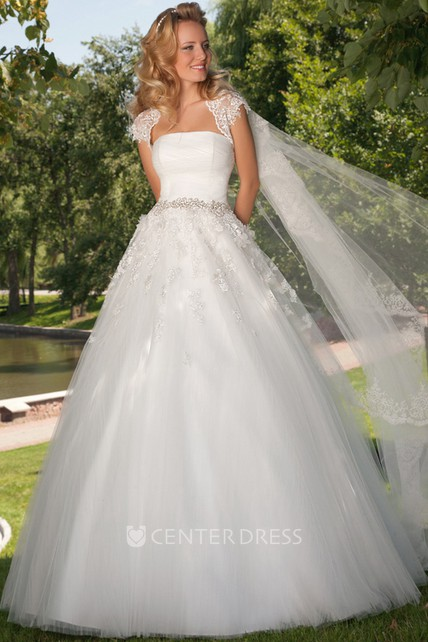cb806aa92669 A-Line Maxi Strapless Jeweled Tulle Wedding Dress With Ruching And Cape -  UCenter Dress