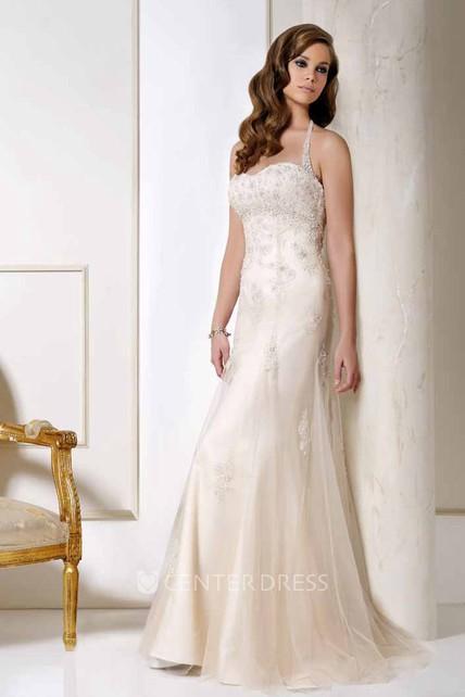 e97468d2025bf Halter Long Appliqued Tulle Wedding Dress With Court Train And V Back - UCenter  Dress