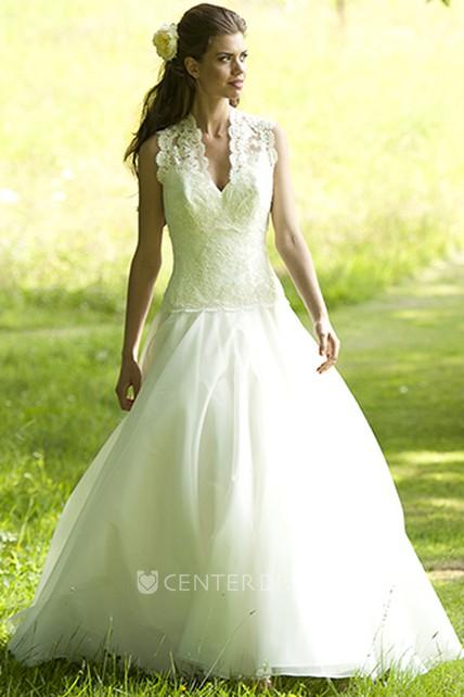 d341e18f92b A-Line Long-Sleeveless V-Neck Chiffon Wedding Dress With Appliques -  UCenter Dress
