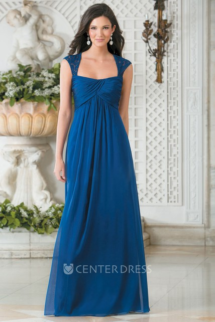 29dc96f0d90fb Cap-Sleeved Square-Neck A-Line Chiffon Bridesmaid Dress With Keyhole Back - UCenter  Dress