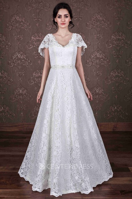 210c26ff757 A-Line Poet-Sleeve V-Neck Lace Wedding Dress With Waist Jewellery - UCenter  Dress