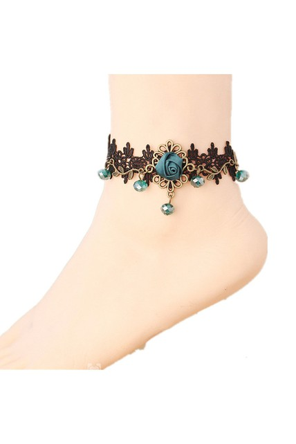 Vintage Fashion Ankle Bracelet Beautiful Rose Black Lace Sexy Anklet 26Cm