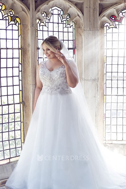 Ball Gown Long V Neck Sleeveless Tulle Plus Size Wedding Dress With
