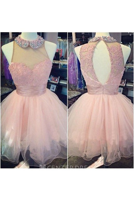 A-line Beading Neck Sweetheart Ruched Tulle Dress