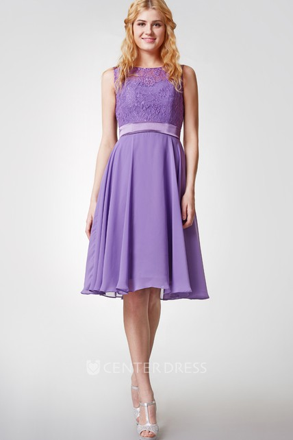 Sleeveless Bateau Neck Knee Length Chiffon Dress With Lace Bodice