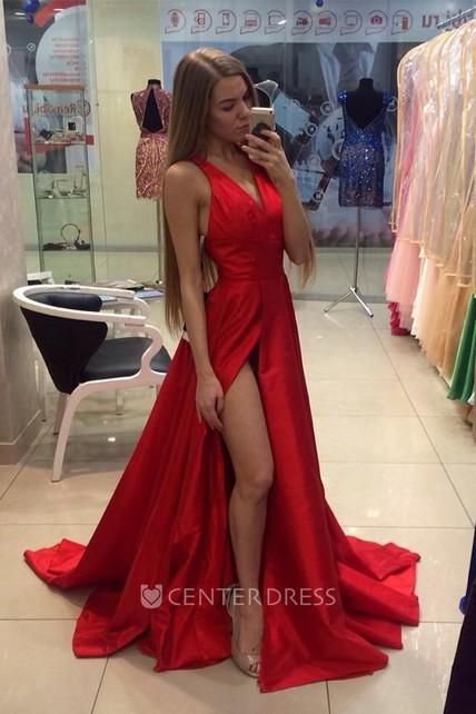 c1bbbbd39119 Sexy Red V-neck Long Prom Dress 2018 Sleeveless Front Split - UCenter Dress