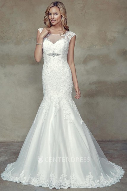 cc0a4a746d3 Trumpet Cap-Sleeve Maxi Scoop-Neck Jeweled Lace Wedding Dress With Appliques  And Illusion - UCenter Dress