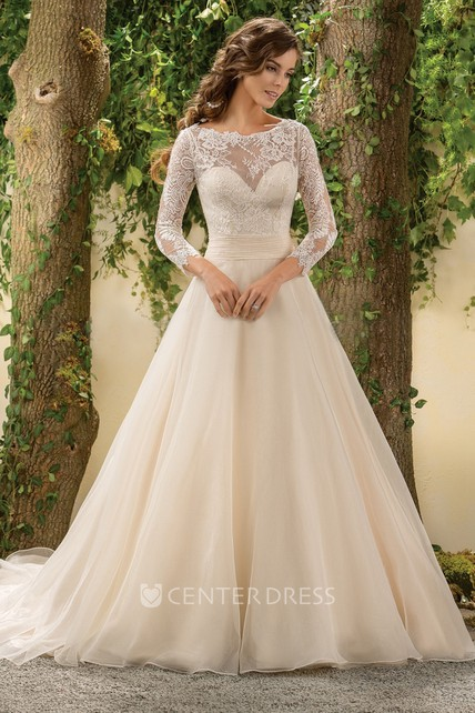 3-4 Sleeved A-Line Wedding Dress With Lace Bodice And Deep V-Back