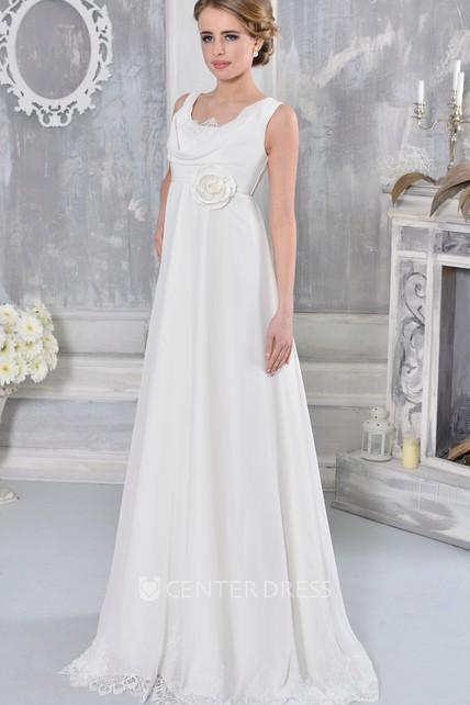 356cdb47a49 Lace Floor-Length Sleeveless Cowl-Neck Empire Chiffon Wedding Dress - UCenter  Dress