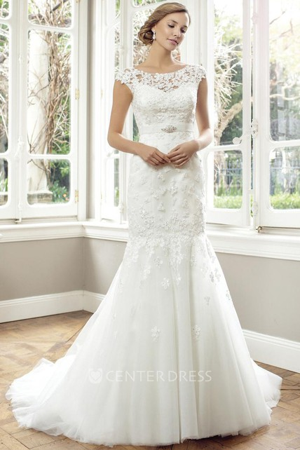 8df0f8f2f2e2 Trumpet Cap-Sleeve Scoop-Neck Jeweled Long Lace Wedding Dress With  Appliques And Illusion - UCenter Dress