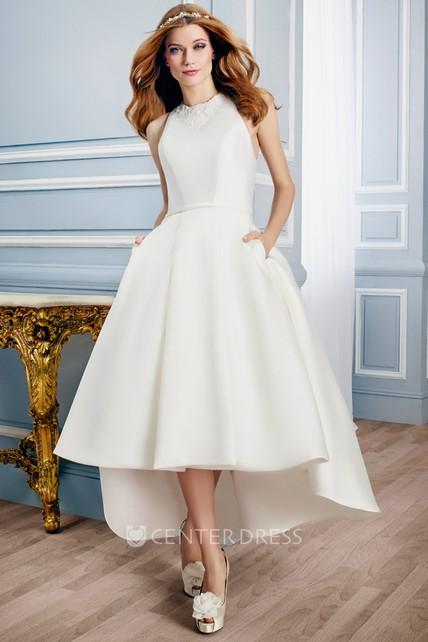 High Low Sleeveless Neck Liqued Satin Wedding Dress With Keyhole