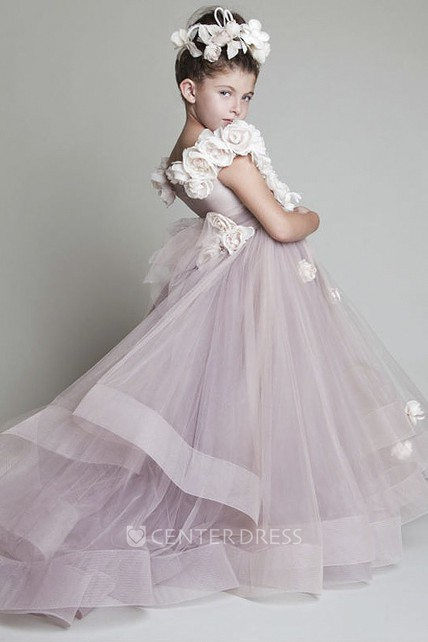 Lovely Ruffles Flower Girl Dress With Sash And Flowers