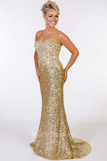 ab115f2c40e Mermaid Beaded Sleeveless Sweetheart Sequin Prom Dress With Brush Train -  UCenter Dress