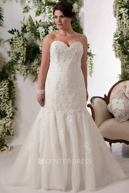 ee0329cff9 Mermaid Sweetheart Lace Plus Size Wedding Dress With Lace Up - UCenter Dress