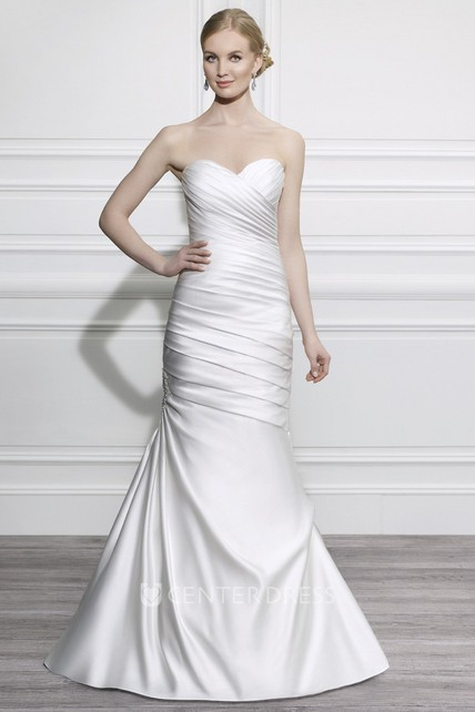 b0adc1a4cb Mermaid Sweetheart Satin Wedding Dress With Criss Cross And Lace Up - UCenter  Dress