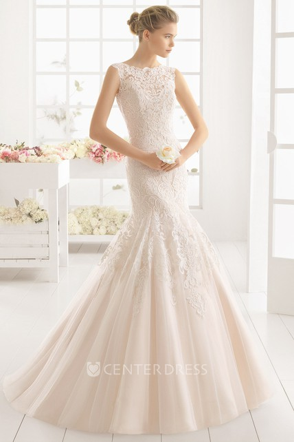 74ae613a8d1 Mermaid Maxi Jewel-Neck Appliqued Sleeveless Lace Wedding Dress - UCenter  Dress