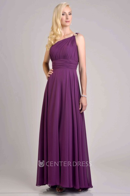 6b5dbf697640 One-Shoulder Chiffon A-Line Bridesmaid Dress With Pleats And Cinched  Waistband - UCenter Dress