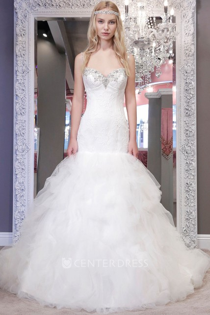 173e6c8a838 A-Line Long Ruffled Spaghetti Tulle Wedding Dress With Crystal Detailing  And Lace - UCenter Dress