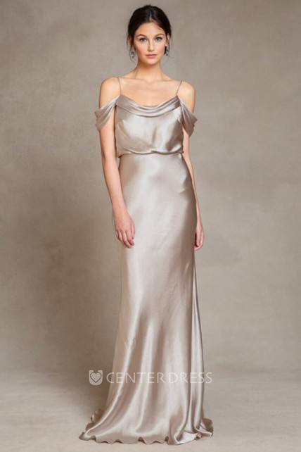 db4b543329a Sleeveless Spaghetti Satin Bridesmaid Dress With Low-V Back - UCenter Dress