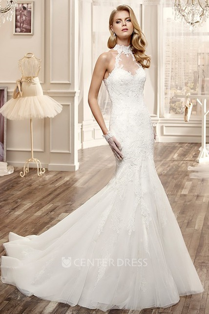 High-Neck Mermaid Lace Wedding Dress With Appliques And Keyhole Back ...
