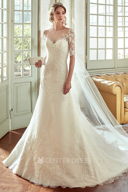 61eb25205981 Sweetheart Lace Wedding Dress with Half Sleeves and Illusive Back - UCenter  Dress