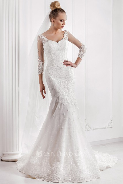 Mermaid Appliqued V-Neck 3-4 Sleeve Lace Wedding Dress With Court ...