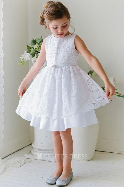 746dbd7212c41 Tea-Length Floral Beaded Lace&Satin Flower Girl Dress With Sash - UCenter  Dress